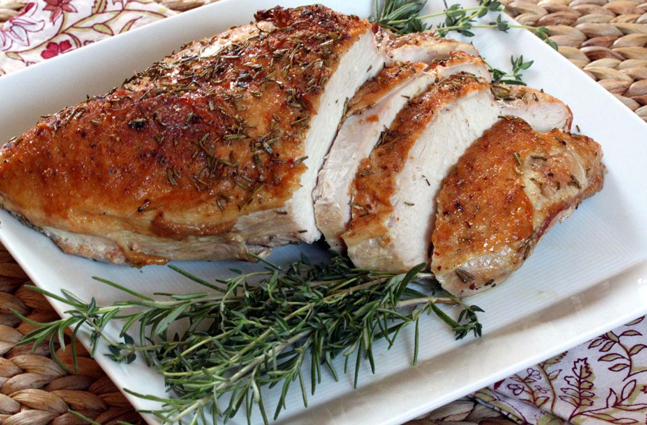 Roast Turkey breast, Sliced on a Platter