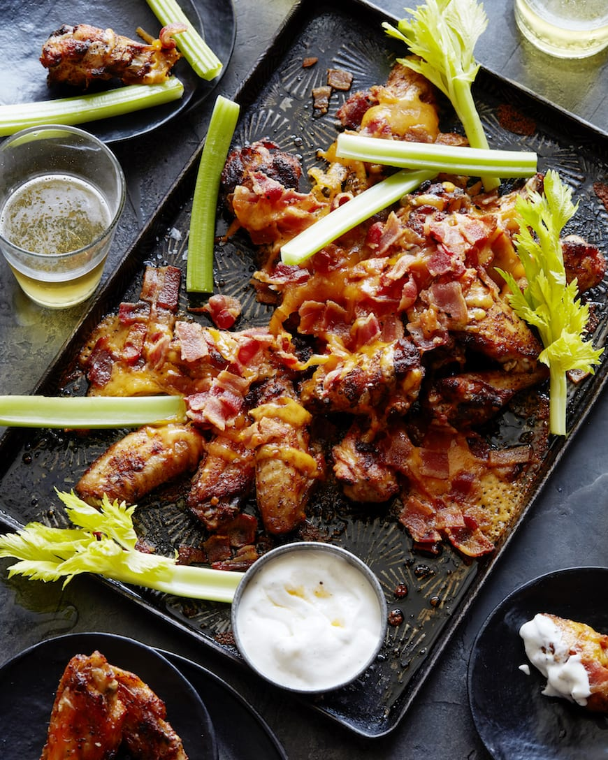 Bacon Cheddar Buffalo Wings from www.whatsgabycooking.com (@Whatsgabycookin)