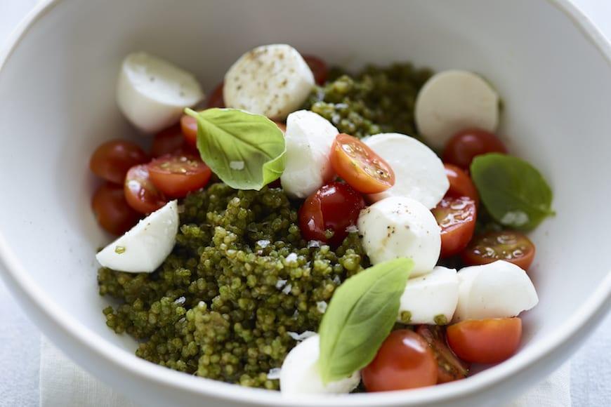 Pesto Caprese Quinoa Salad from www.whatsgabycooking.com (@whatsgabycookin)