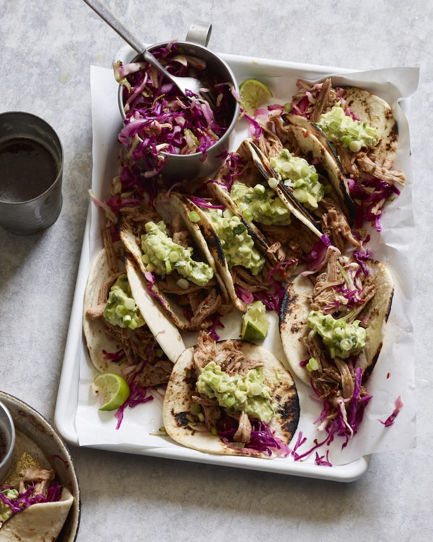 Pulled Pork Tacos with Avocado Crema from www.whatsgabycooking.com (@whatsgabycookin)
