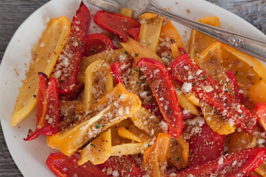 Oven Roasted Peppers with Herbed Breadcrumbs