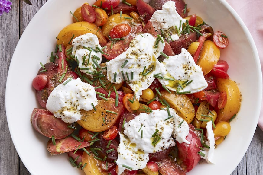 Marinated Tomato and Burrata Salad from www.whatsgabycooking.com (@whatsgabycooking)