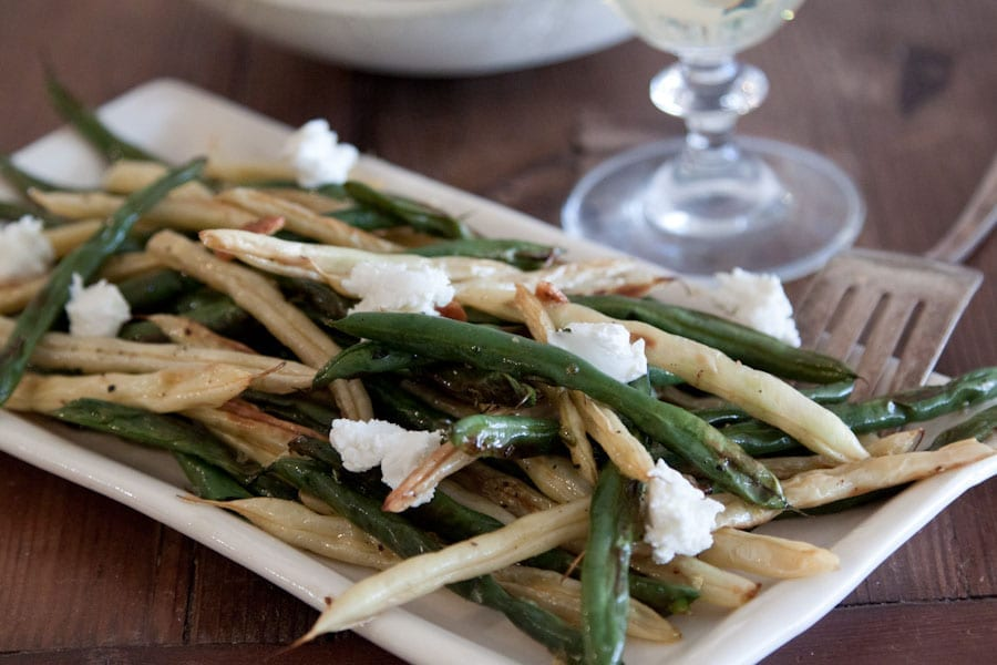 Goat Cheese Roasted Green Beans