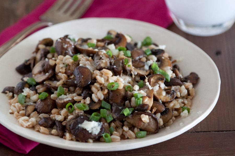 Mushroom, Farro and Fontina Salad on What's Gaby Cooking