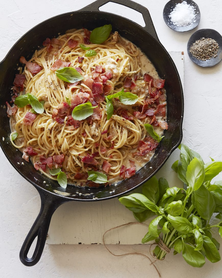 Brie, Bacon and Basil Pasta from www.whatsgabycooking.com (@whatsgabycookin)