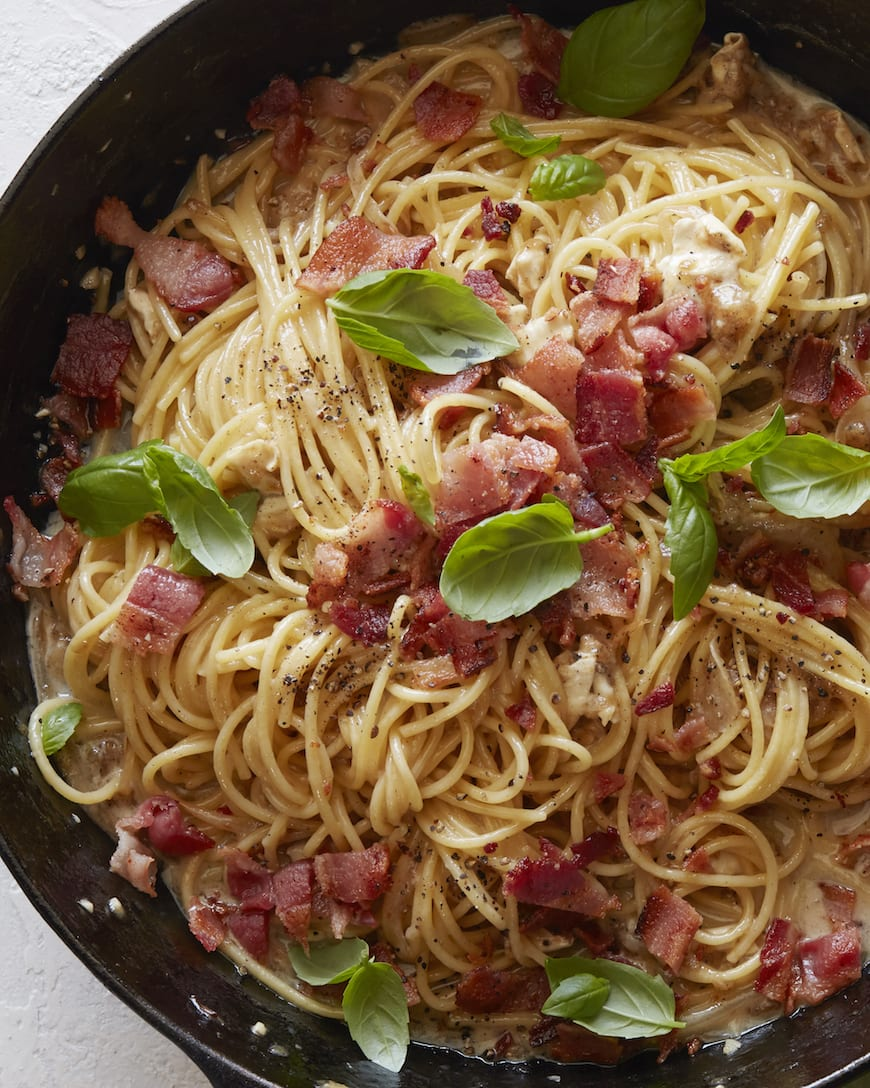 Brie Bacon and Basil Pasta