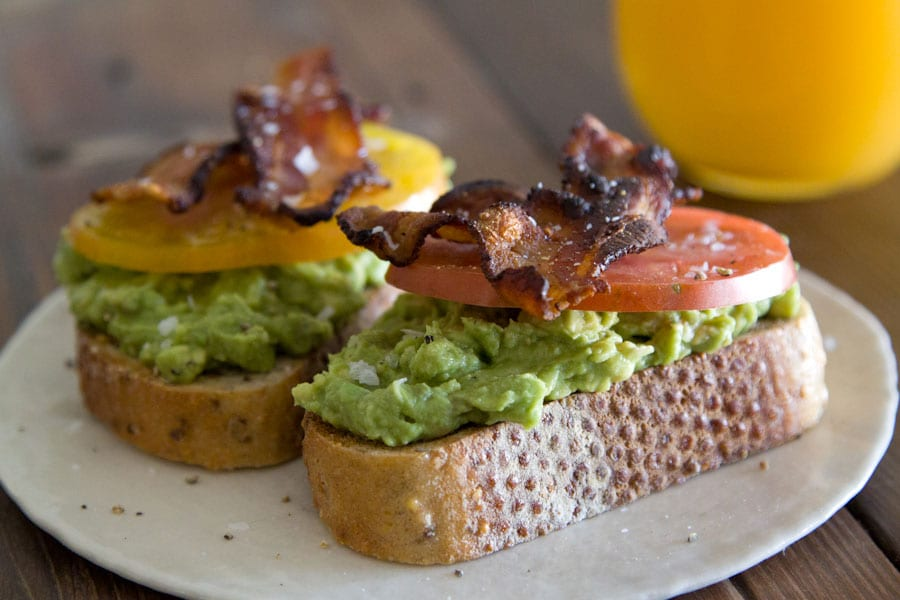 Avocado Bacon Tomato Toasts