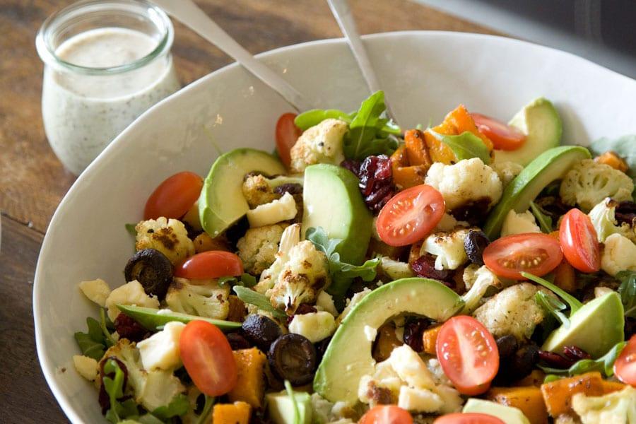 Roasted-Vegetable,-Avocado-and-Arugula-Salad