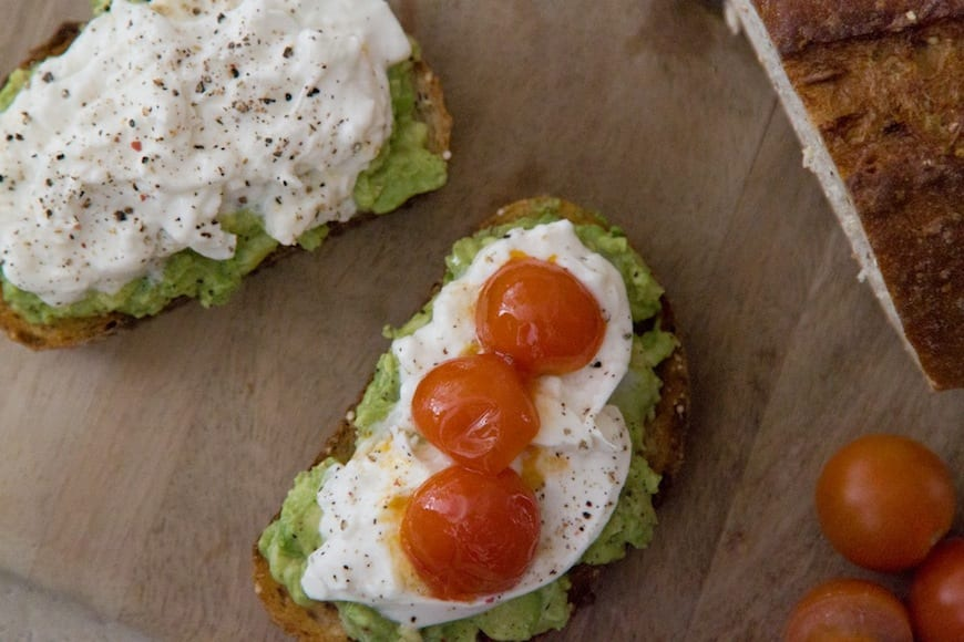 Avocado and Burrata Tartines from www.whatsgabycooking.com