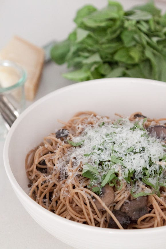 Pasta with Mushrooms, Herbs and Cheese from www.whatsgabycooking.com