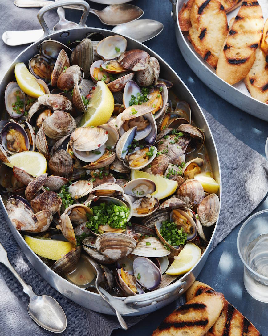 Steamed Clams with Garlic and Chives from www.whatsgabycooking.com (@Whatsgabycookin)