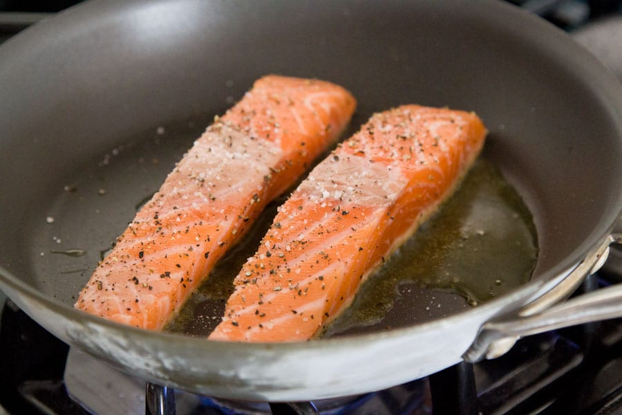Step by step photos on how to make Pan Seared Salmon