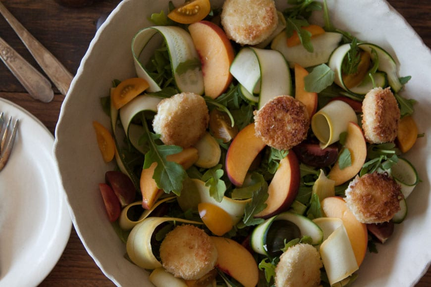 Garden Salad with Fried Goat Cheese