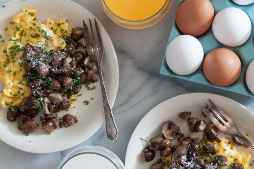 Scrambled Eggs with Roasted Mushrooms