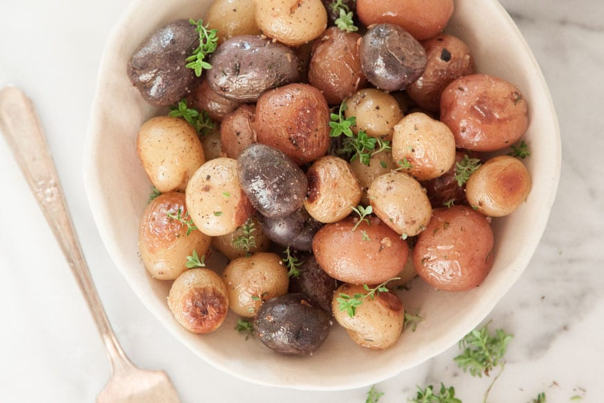 Garlic Roasted Potatoes with Thyme