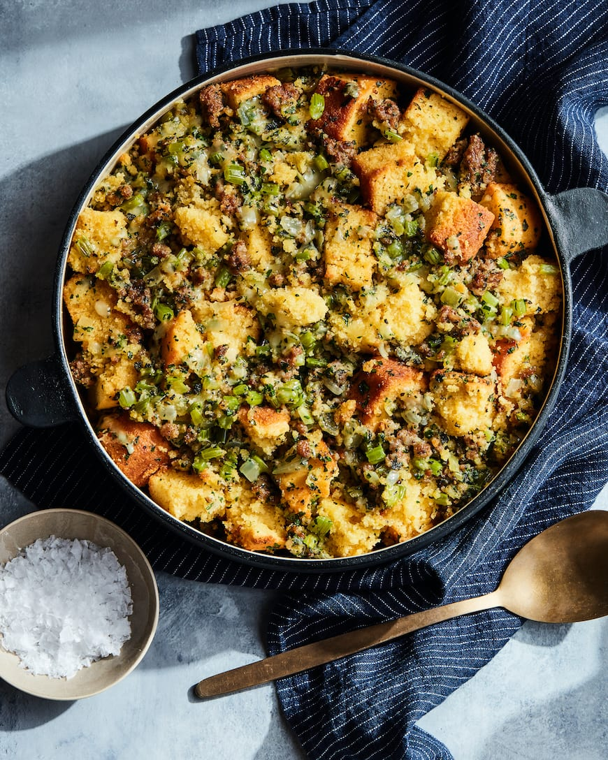 Cornbread Stuffing with Sausage from www.whatsgabycooking.com (@whatsgabycookin)