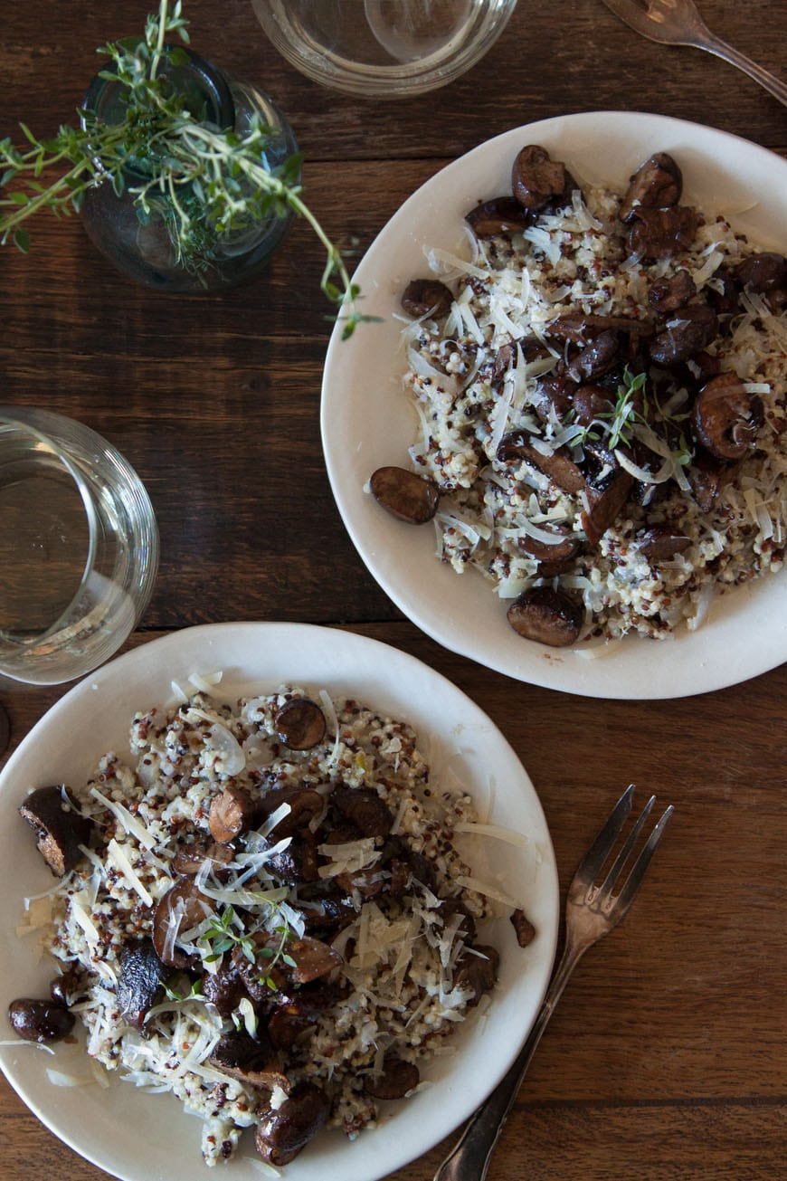 Quinoa Risotto with Pan Roasted Mushrooms