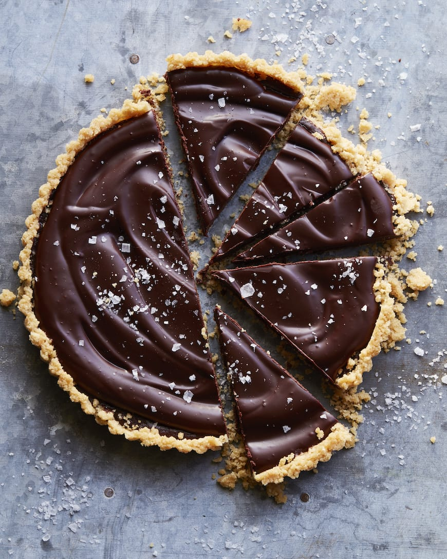 Salted Chocolate Tart with Kettle Chip Crust from www.whatsgabycooking.com (@whatsgabycookin)