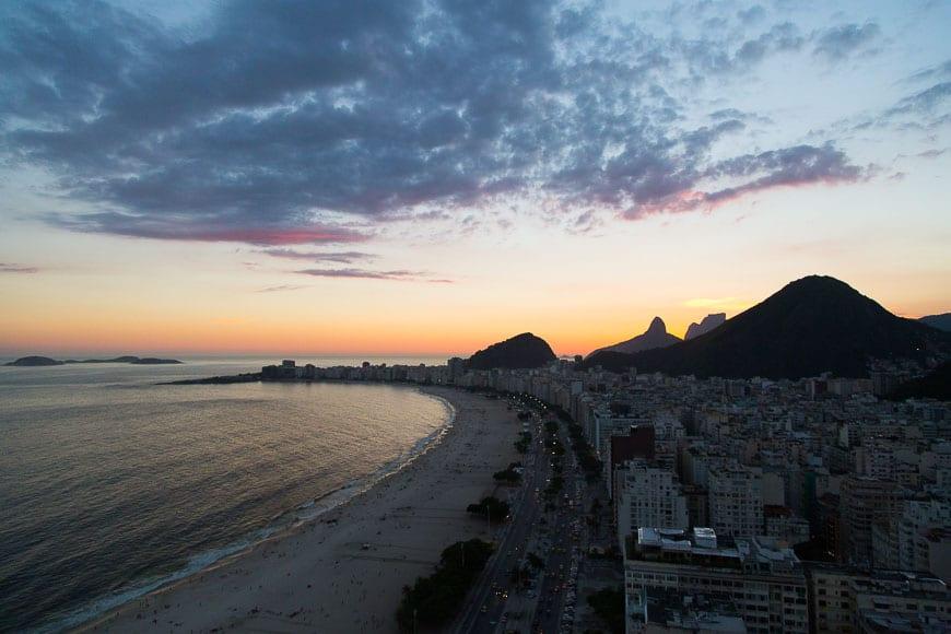 Sunset over Copacabana Beach
