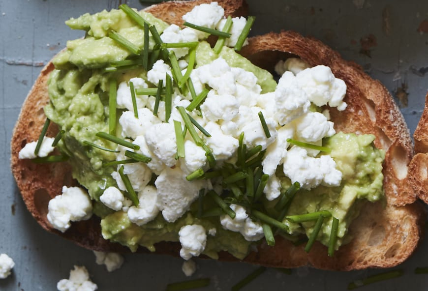 Avocado Toast with Goat Cheese and Chives