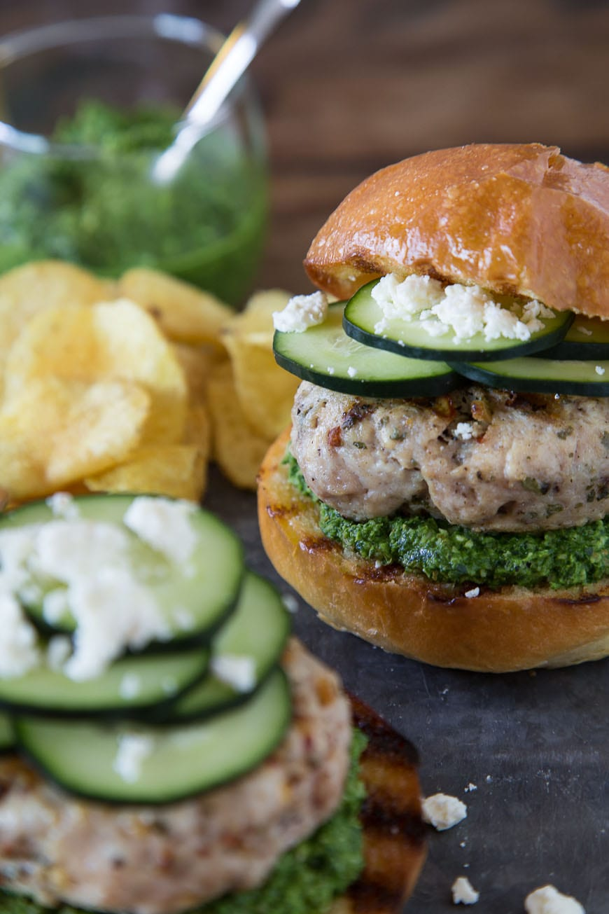 Green Harissa Turkey Burgers