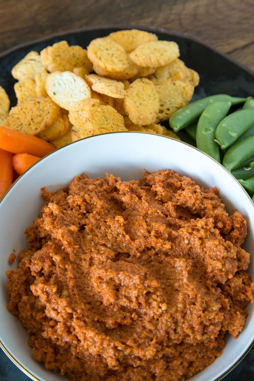Roasted Red Pepper Dip with Twistos Asiago Baked Snack Bites