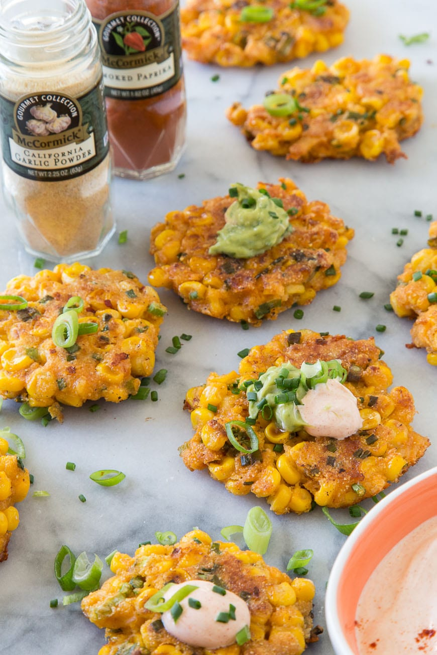 Corn Fritters with Spiced Crema