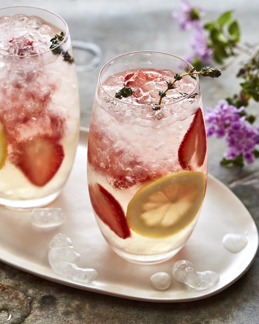 Strawberry Thyme Lillet Spritzers from www.whatsgabycooking.com (@whatsgabycookin)