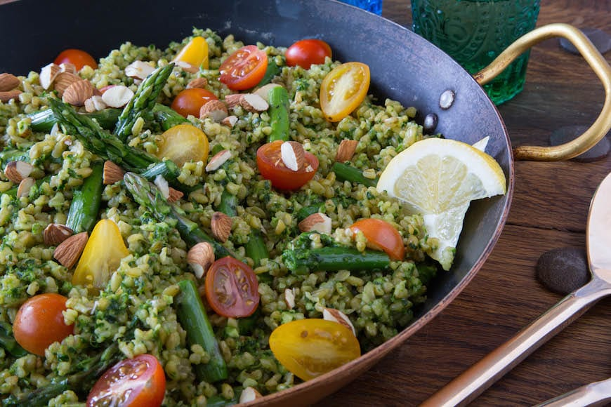 Almond and Parsley Pesto with Asparagus and Freekeh Recipe