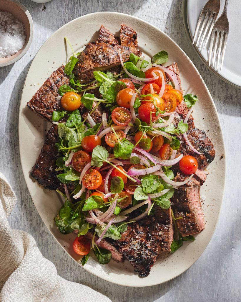 Grilled Skirt Steak with Tomato Salad from www.whatsgabycooking.com (@whatsgabycookin)