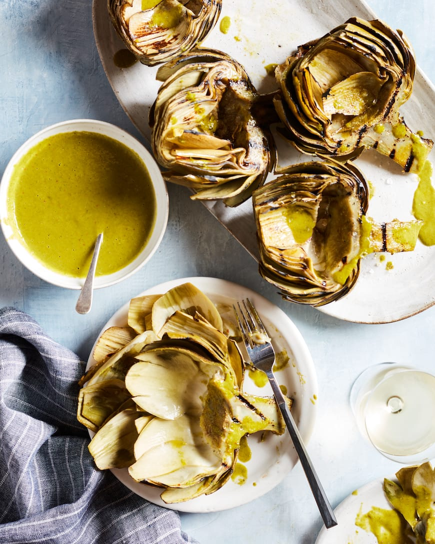 Grilled Artichokes with Lemon Basil Vinaigrette from www.whatsgabycooking.com (@whatsgabycookin)