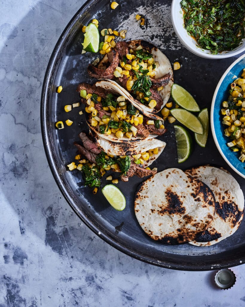 Steak Tacos with Corn Salsa from www.whatsgabycooking.com (@whatsgabycookin)