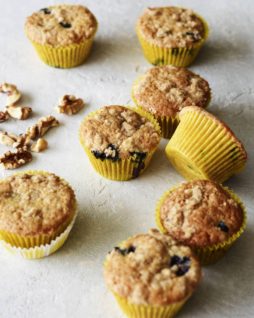 Blueberry Crumb Cakes with Walnut Streusel from www.whatsgabycooking.com (@whatsgabycookin)