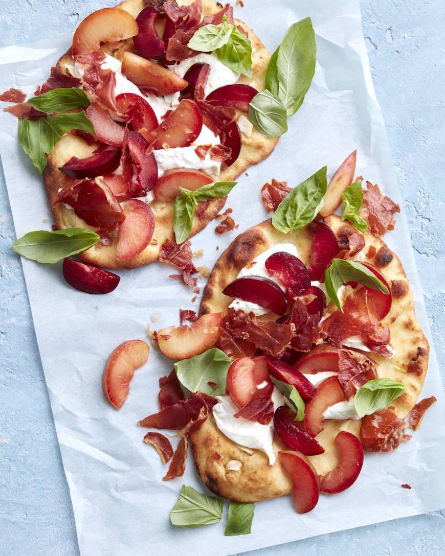Crispy Prosciutto, Plum and Burrata Flatbread from www.whatsgabycooking.com (@whatsgabycookin)
