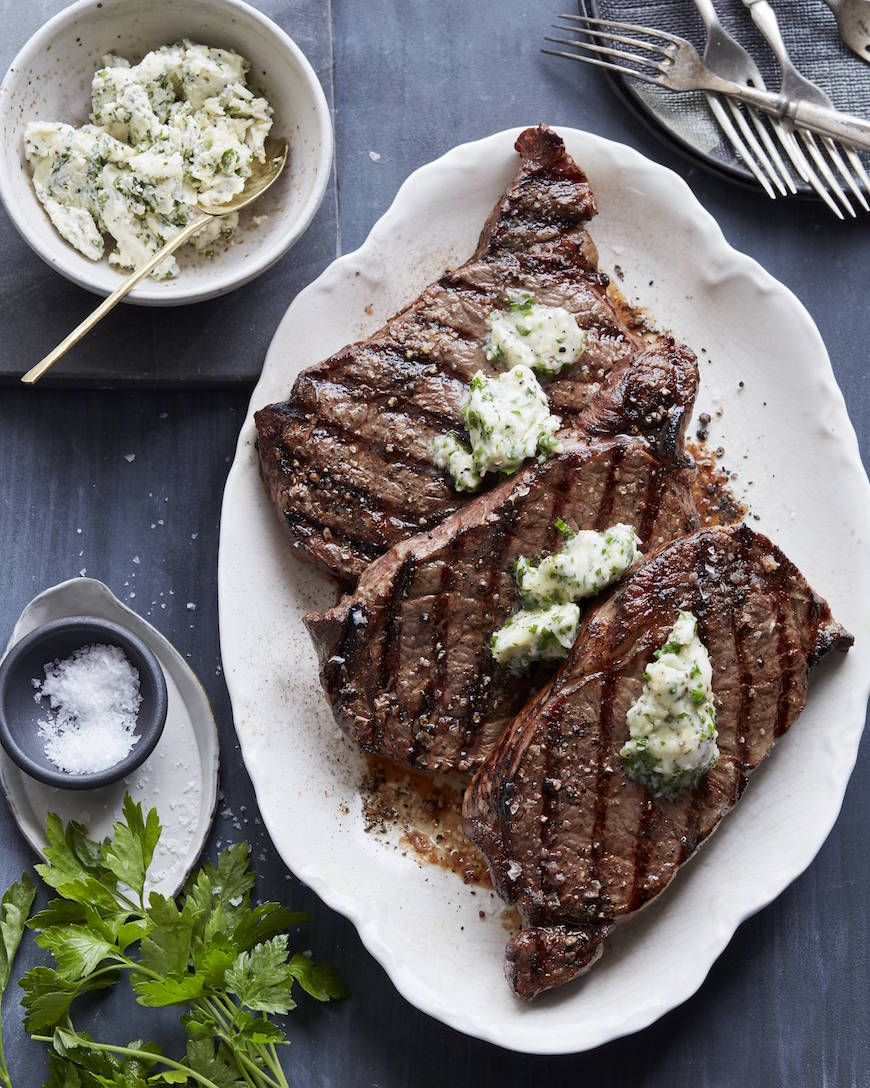 Grilled Rib Eye Steak with Parrano Herb Compound Butter from www.whatsgabycooking.com (@whatsgabycookin)