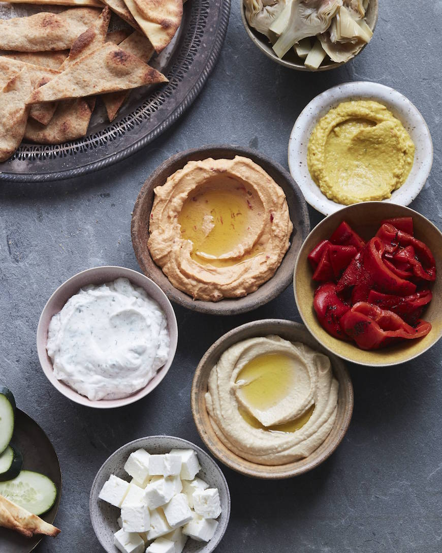 Hummus Bar (my secret to feeding a group of people when I'm in charge of appetizers) from www.whatsgabycooking.com (@whatsgabycookin)