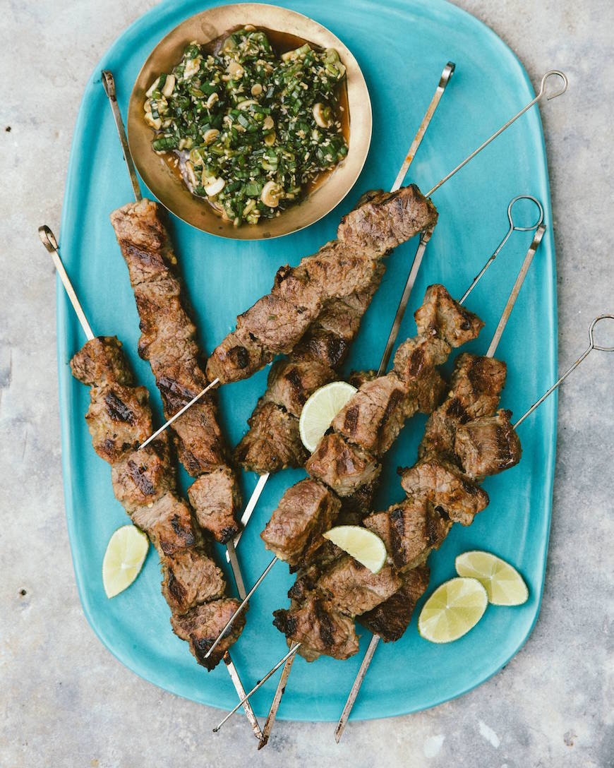 Grilled Steak Skewers with Scallion Sauce from www.whatsgabycooking.com (@whatsgabycookin)