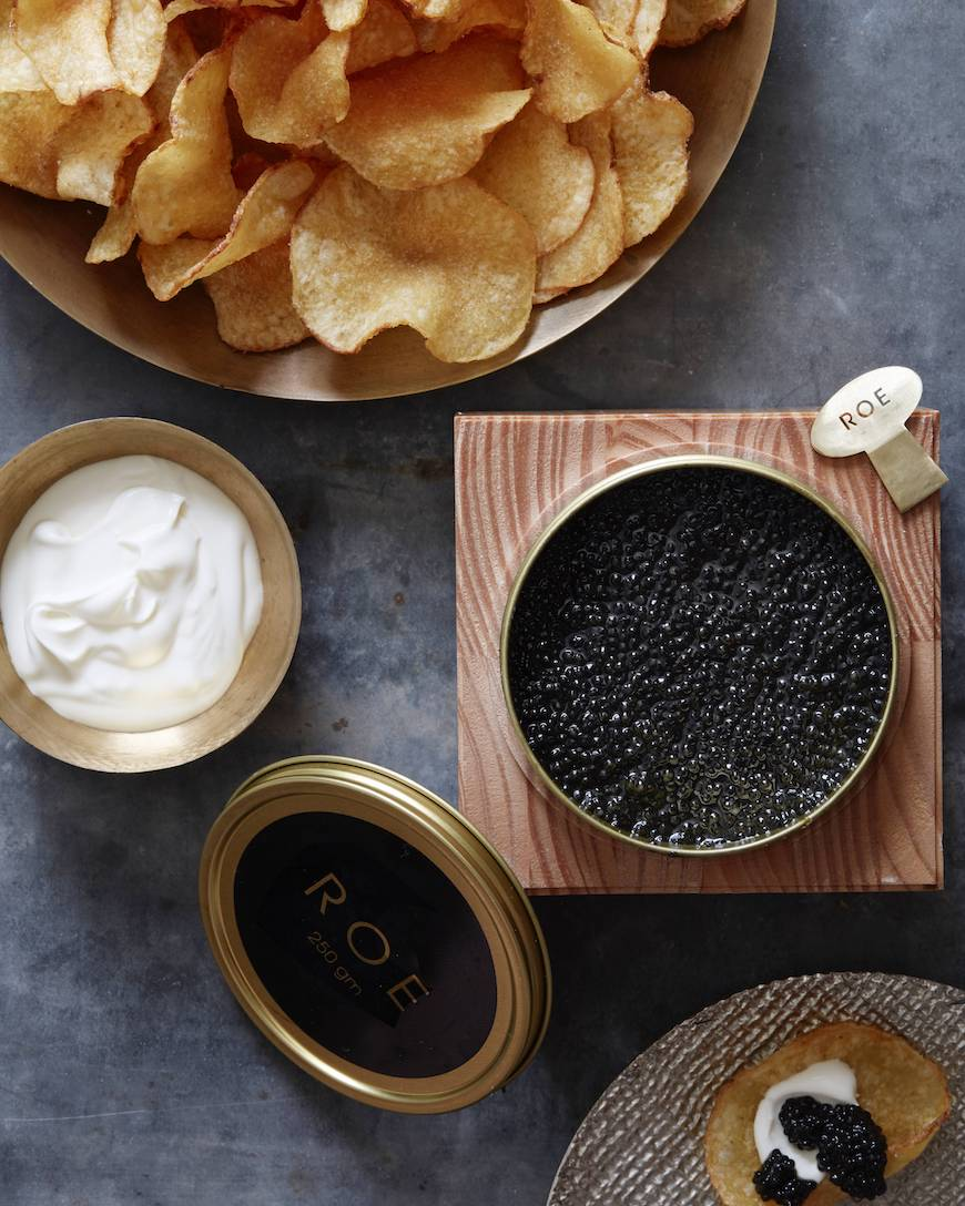 Potato Chips with Caviar and Creme Fraiche = the easiest appetizer of all times!