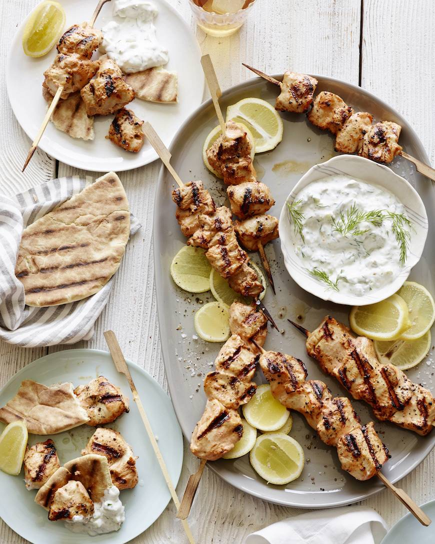 Grilled Chicken Skewers part of the 20 Easy Weeknight Grilling Recipes from www.whatsgabycooking.com (@whatsgabycookin)