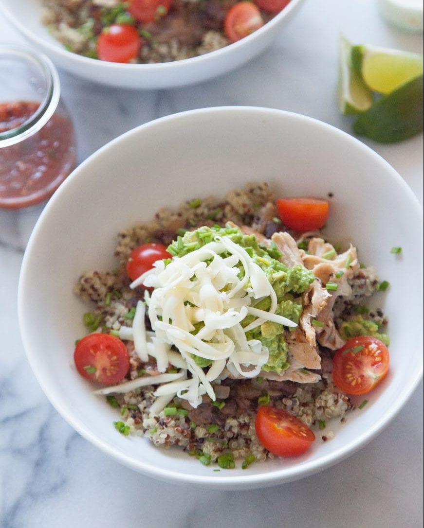 Quinoa Chicken Burrito Bowls