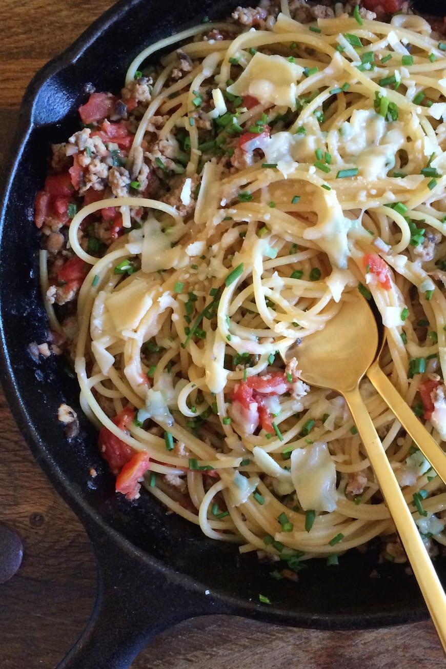 Mushroom + Chicken Parmesan Pasta