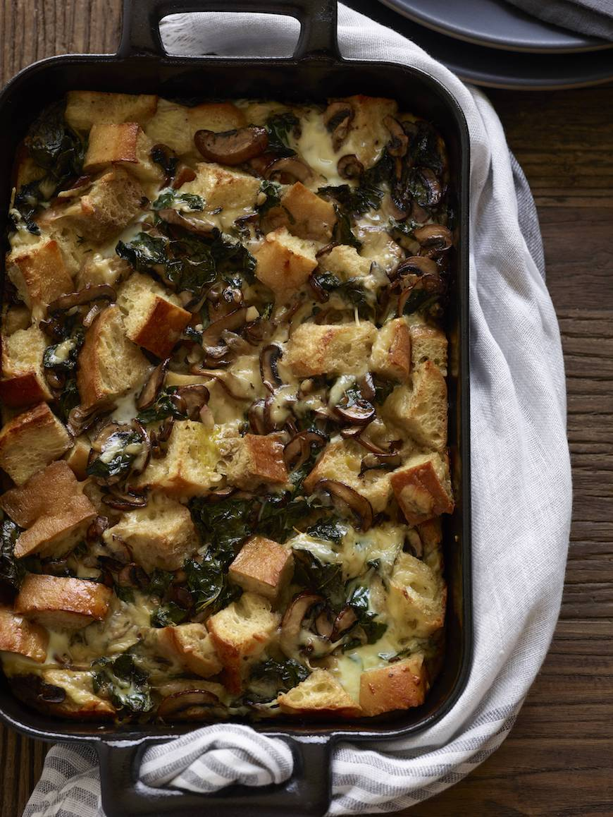 Kale and Mushroom Bread Pudding from www.whatsgabycooking.com (@whatsgabycookin)