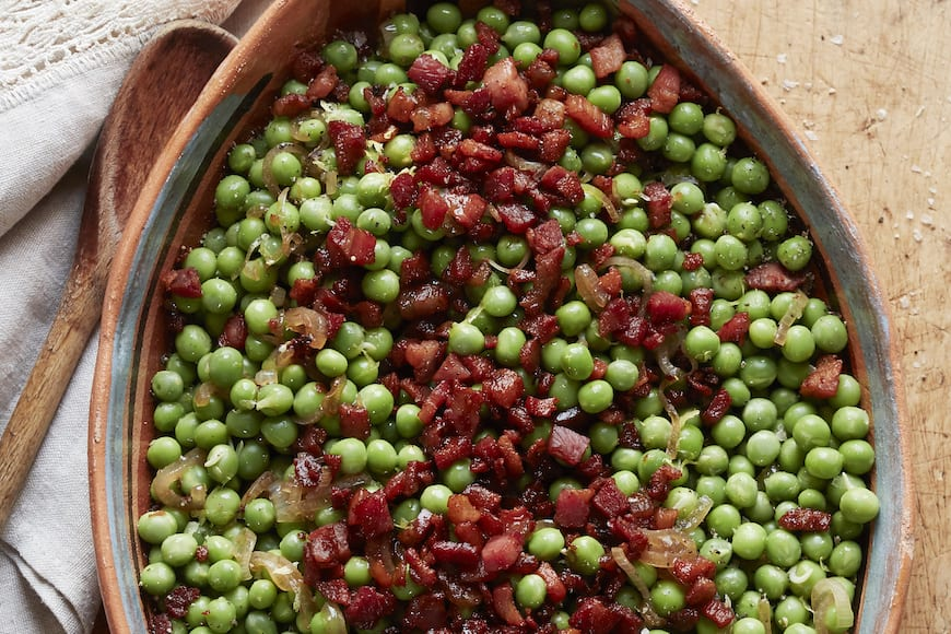 Peas and Pancetta with Lemon from www.whatsgabycooking.com (@whatsgabycookin)