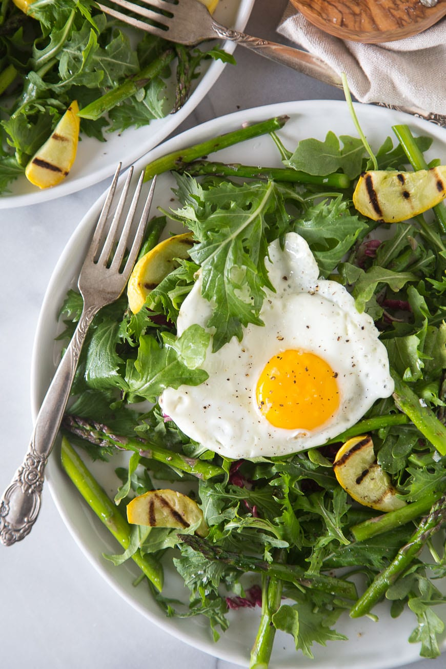 Fried Egg Salad with Grilled Asparagus
