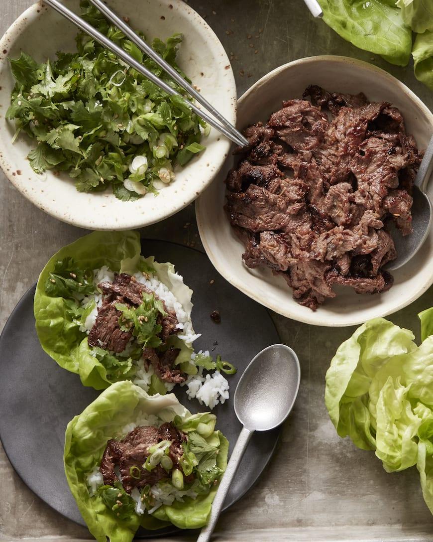 Beef Bulgogi Lettuce Wraps // 11 of our favorite Summer Steak Recipes from www.whatsgabycooking.com (@whatsgabycookin)