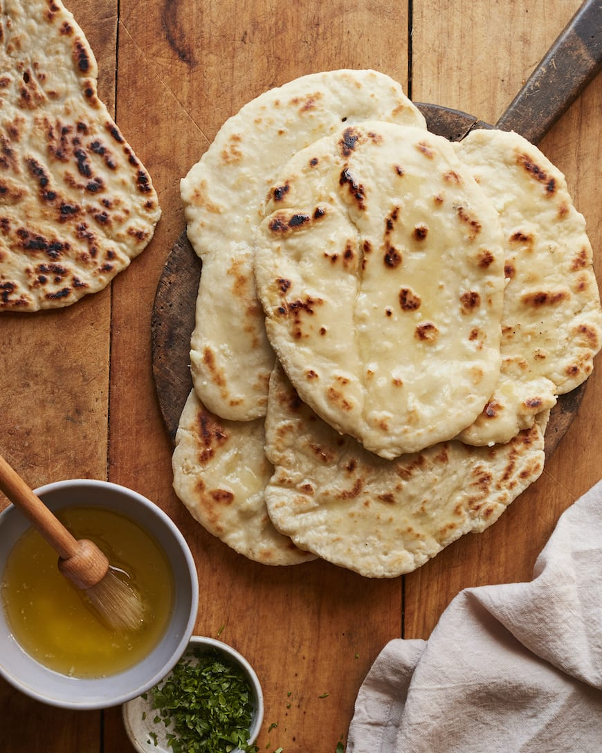 Homemade Naan Bread with Garlic Butter from www.whatsgabycooking.com (@whatsgabycookin)