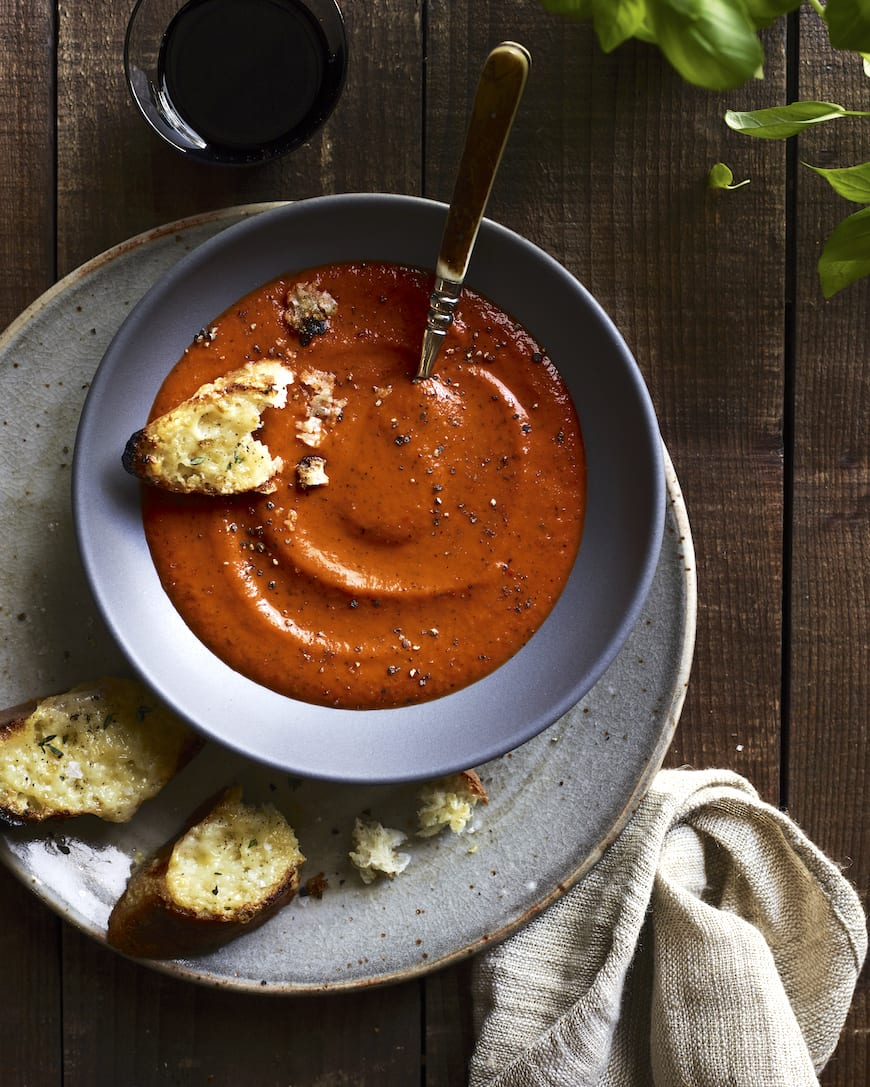Roasted Tomato Basil Soup from www.whatsgabycooking.com (@whatsgabycookin)