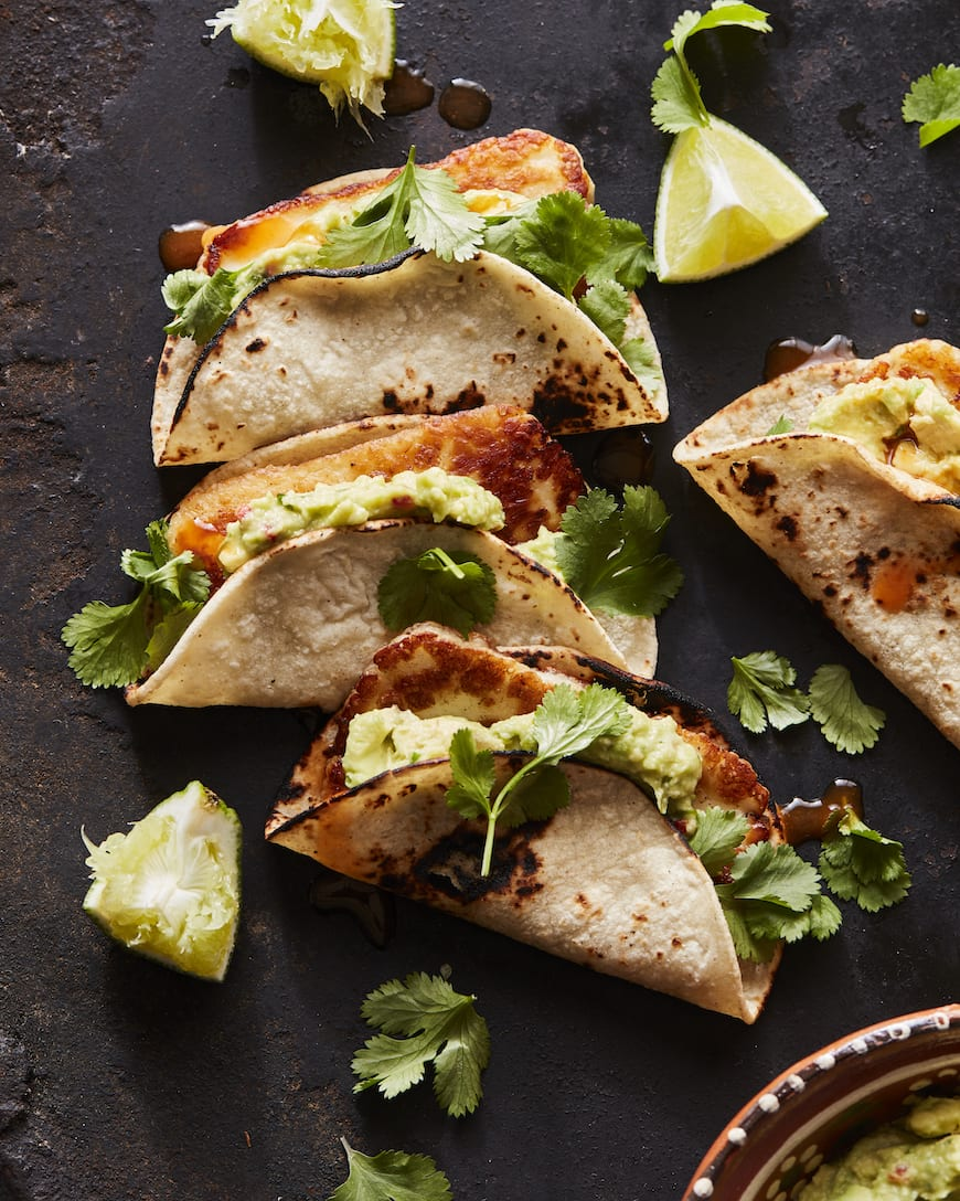 Fried Halloumi Tacos with Guacamole from www.whatsgabycooking.com (@whatsgabycookin)