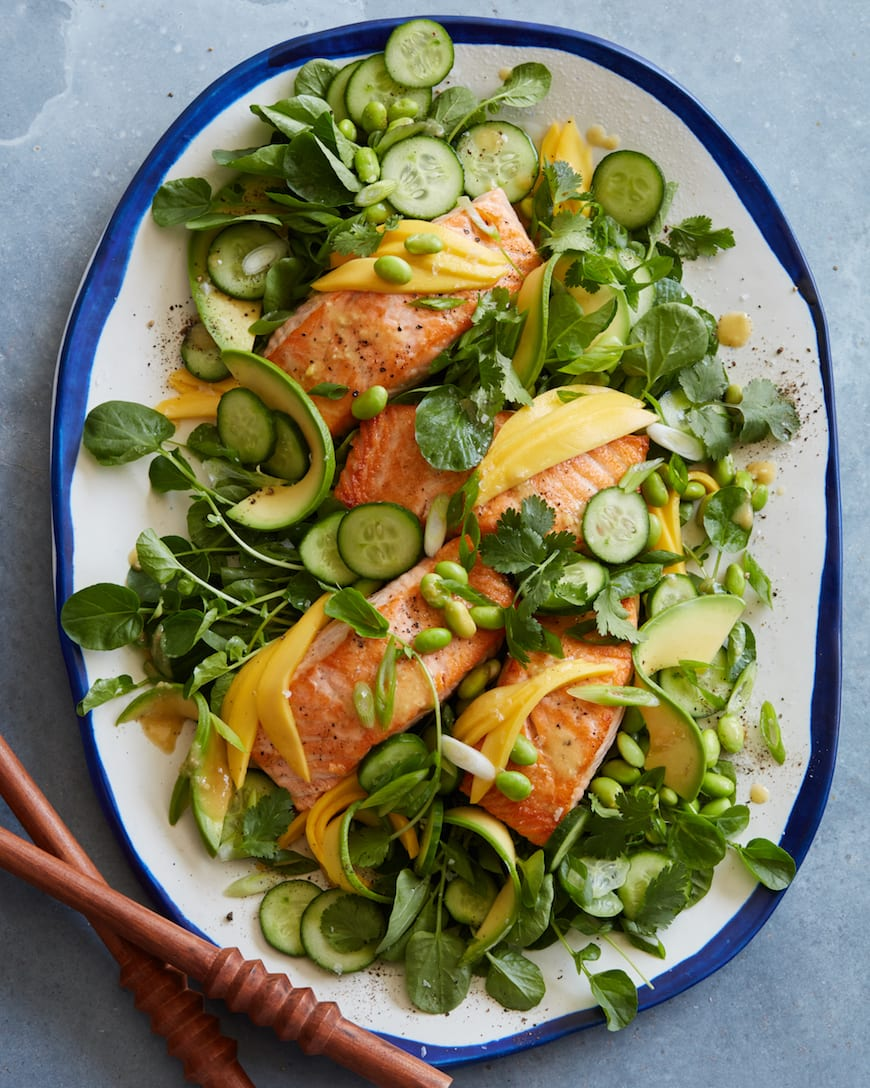 Loaded Sesame Ginger Salmon Salad from www.whatsgabycooking.com (@whatsgabycookin)