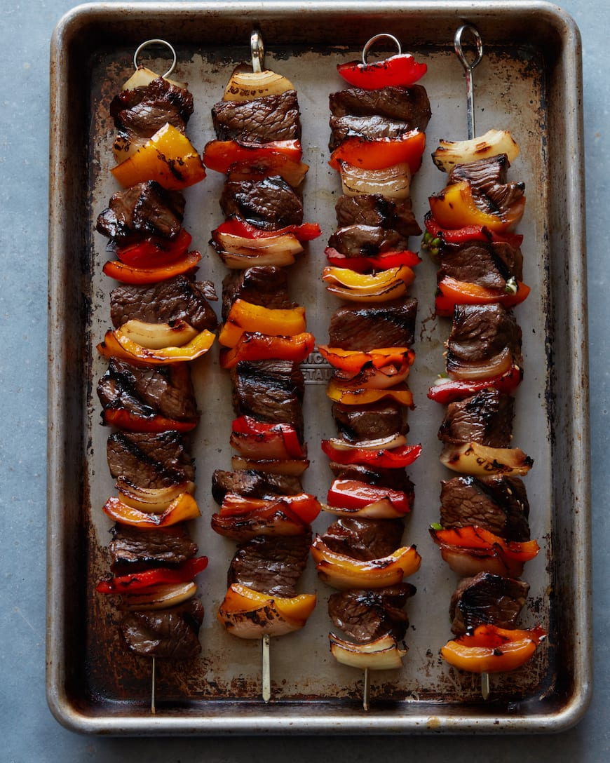 Grilled Beef Kebabs  // 11 of our favorite Summer Steak Recipes from www.whatsgabycooking.com (@whatsgabycookin)